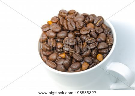 Coffee Beans Seed In White Cup Isolated