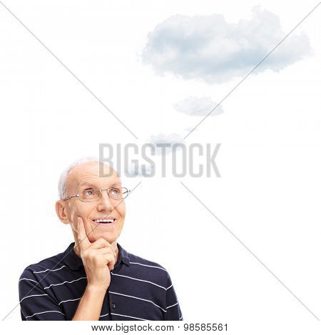 Pensive senior gentleman thinking about something with a cloud floating over his head isolated on white background