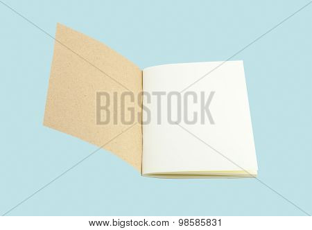 Notebook From Recycle Paper Isolate On Blue With Clipping Path