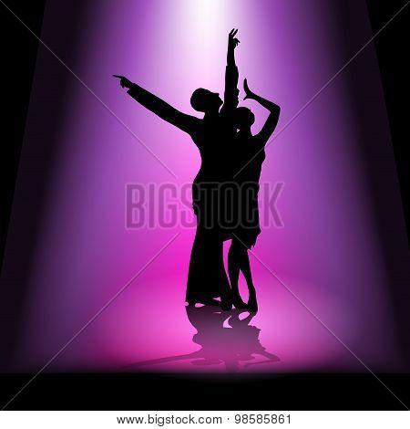 Dancing Couple In Spotlight