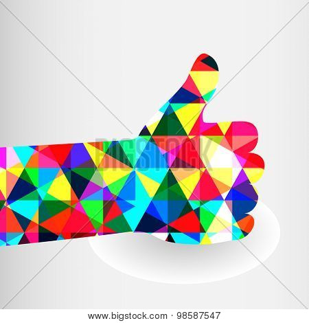 Colorful thumbs Up symbol. Abstract background.