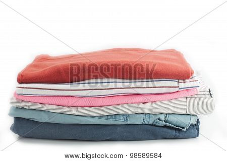 Men Casual Wear Shirt And Jean Isolated On White Background.