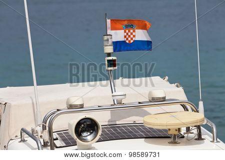 Croatian flag on a yacht