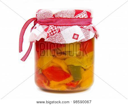 Pickled Red Bell Pepper In The Jar