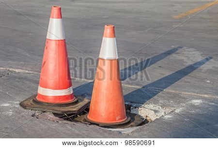 Traffic Warning Cones For Warning In Construction Site.