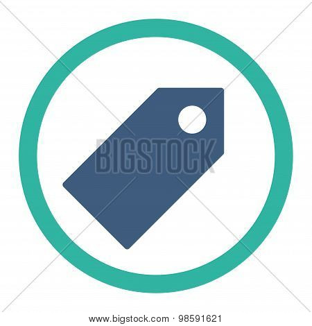 Tag flat cobalt and cyan colors rounded vector icon