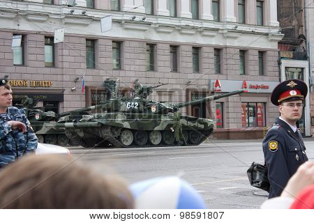 T-90 Tank On Parade Of Victory Day On May 9, 2010 In Moscow