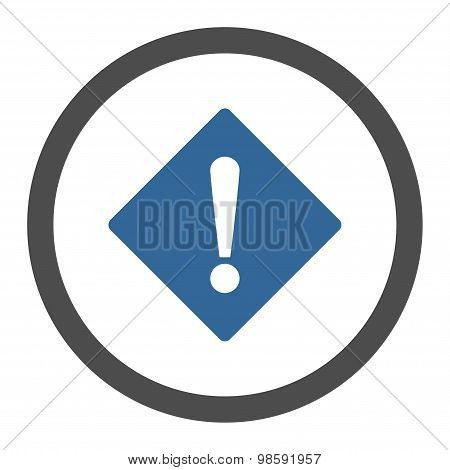 Error flat cobalt and gray colors rounded vector icon