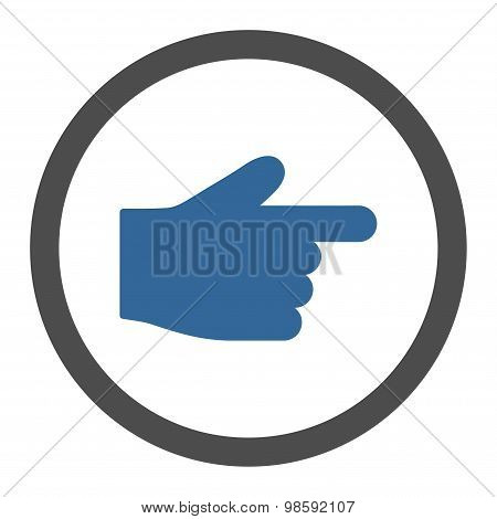 Index Finger flat cobalt and gray colors rounded vector icon
