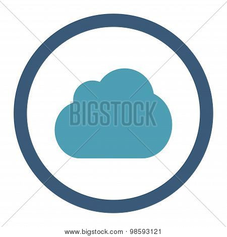Cloud flat cyan and blue colors rounded vector icon