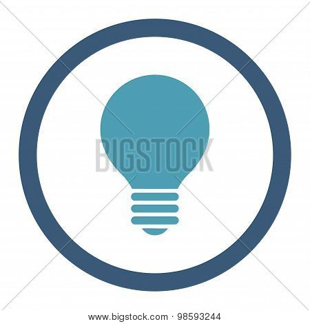 Electric Bulb flat cyan and blue colors rounded vector icon