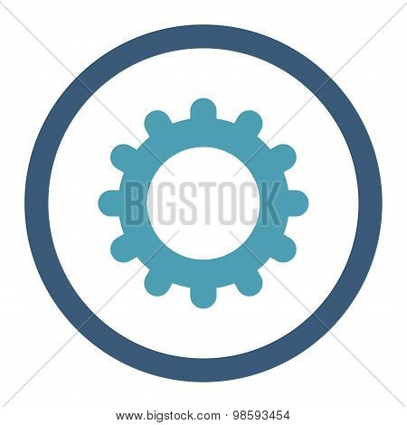 Gear flat cyan and blue colors rounded vector icon