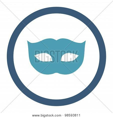 Privacy Mask flat cyan and blue colors rounded vector icon