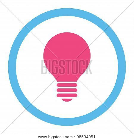 Electric Bulb flat pink and blue colors rounded vector icon
