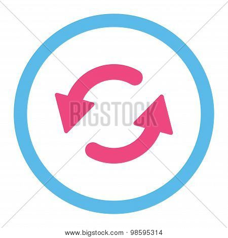 Refresh Ccw flat pink and blue colors rounded vector icon