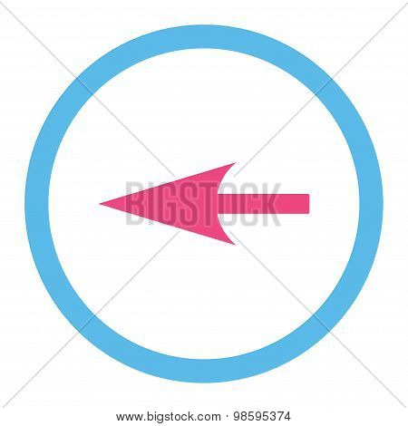 Sharp Left Arrow flat pink and blue colors rounded vector icon