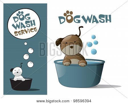 Logo Design Element Wash Dog Service