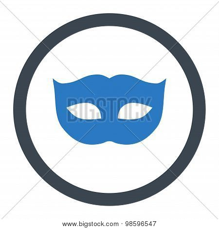 Privacy Mask flat smooth blue colors rounded vector icon