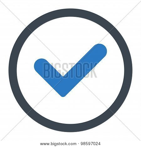 Yes flat smooth blue colors rounded vector icon