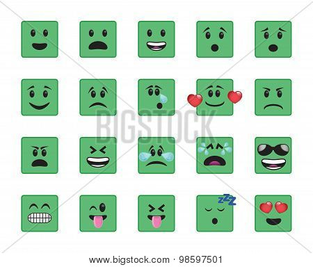 Set Of Green Square Icons
