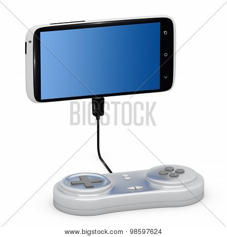 Joypad Connected To Smartphone.