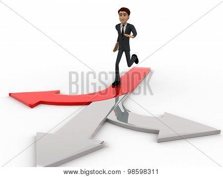 3D Man Chossing The Right Path / Different Path Concept