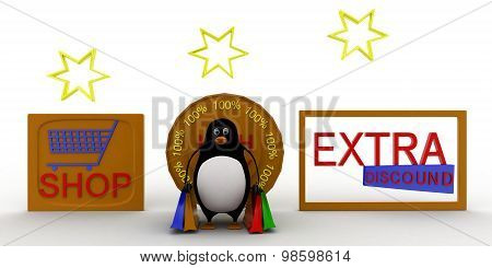 3D Penguin Extra Discount And Shop Concept