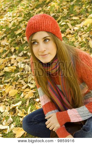 Girl in the Park in autumn