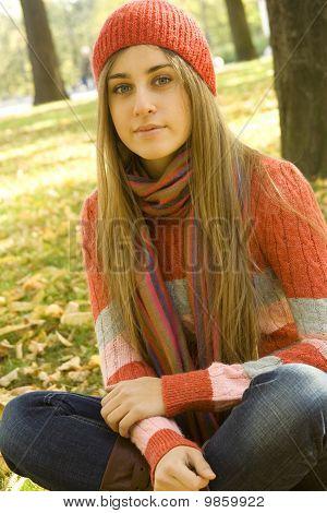 Girl in the Park in autumn
