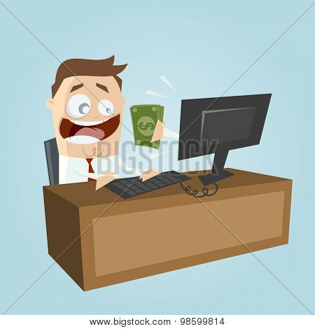 businessman is earning money on computer