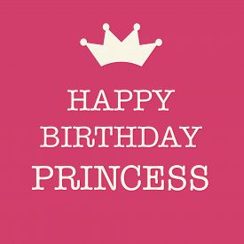 image of princess crown  - Cute Happy Birthday card with a text and a princess crown on a pink background - JPG