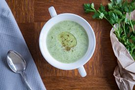 foto of posh  - Delicious green vegetarian soup with parsley in posh restaurant - JPG