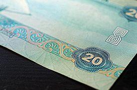 pic of dirham  - Banknote in twenty dirhams of the United Arab Emirates close up - JPG
