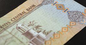 pic of dirham  - Banknote of the United Arab Emirates in five dirhams close up - JPG