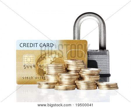 Credit card payment security concept: Golden credit card with coins and lock with reflection isolated in white background.