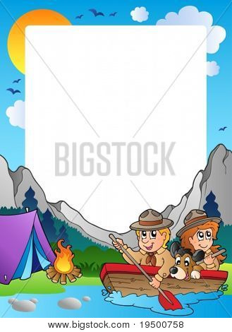 Summer frame with scout theme 4 - vector illustration.