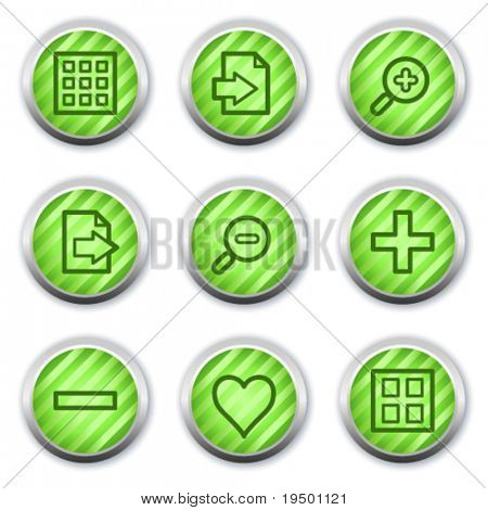 Image viewer web icons set 1, green glossy circle buttons