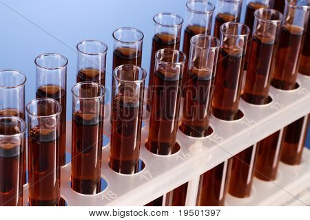 Test tubes closeup on blue background