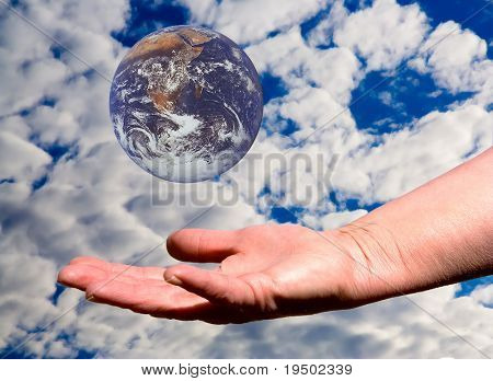 Catch The Earth with Sky & Cloud Background