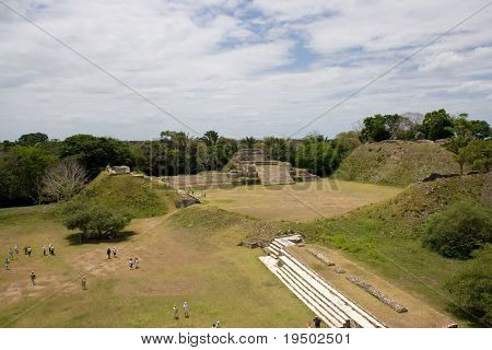 Arial Overview of Mayan Ruins at Altun Ha, Belize