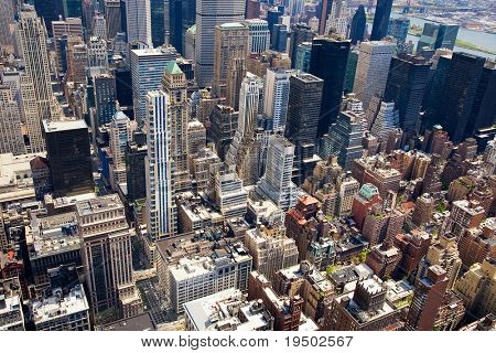 Aerial View of the Rooftops of Manhattan.