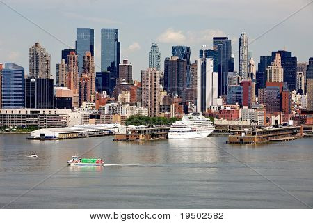 Cruise ship visiting Manhattan port.