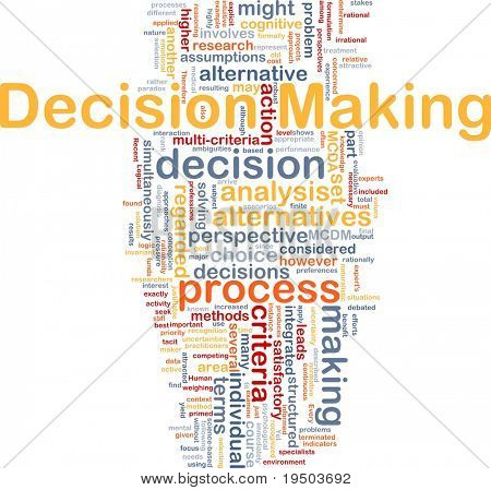 Background concept wordcloud illustration of decision making