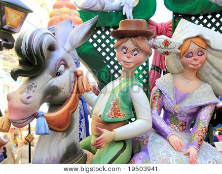 fallas from Valencia papier mache popular fest figures sculpture in Spain