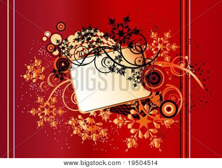 Snow branch Christmas and New Year background Banner for your text, decorated with patterns of branches and Snowflakes on a red background with black spray