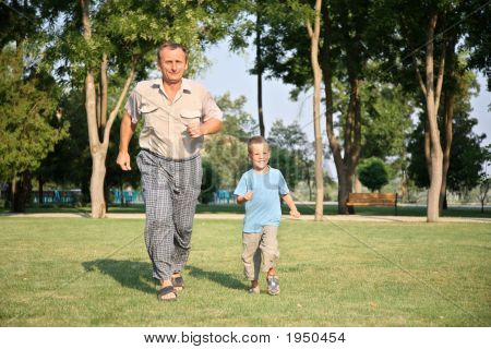 Grandfather With Grandson Run