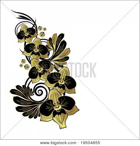 floral abstract background: gold branch of orchid VECTOR (See Jpeg Also In My Portfolio)