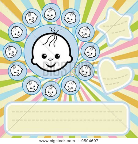 Vector design of page of Your scrapbook: 12 months (boy)