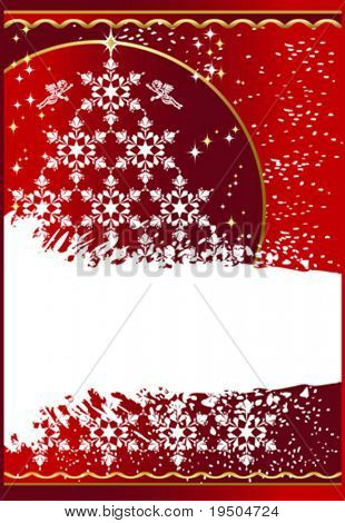 Tree gold Snowflakes. Christmas and New Year background decorated gold pattern on a red background The white strip for your text   VECTOR (See Jpeg Also In My Portfolio)