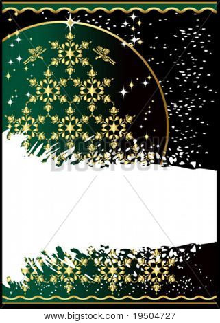 Tree gold Snowflakes. Christmas and New Year background decorated gold pattern on a green background The white strip for your text VECTOR (See Jpeg Also In My Portfolio)